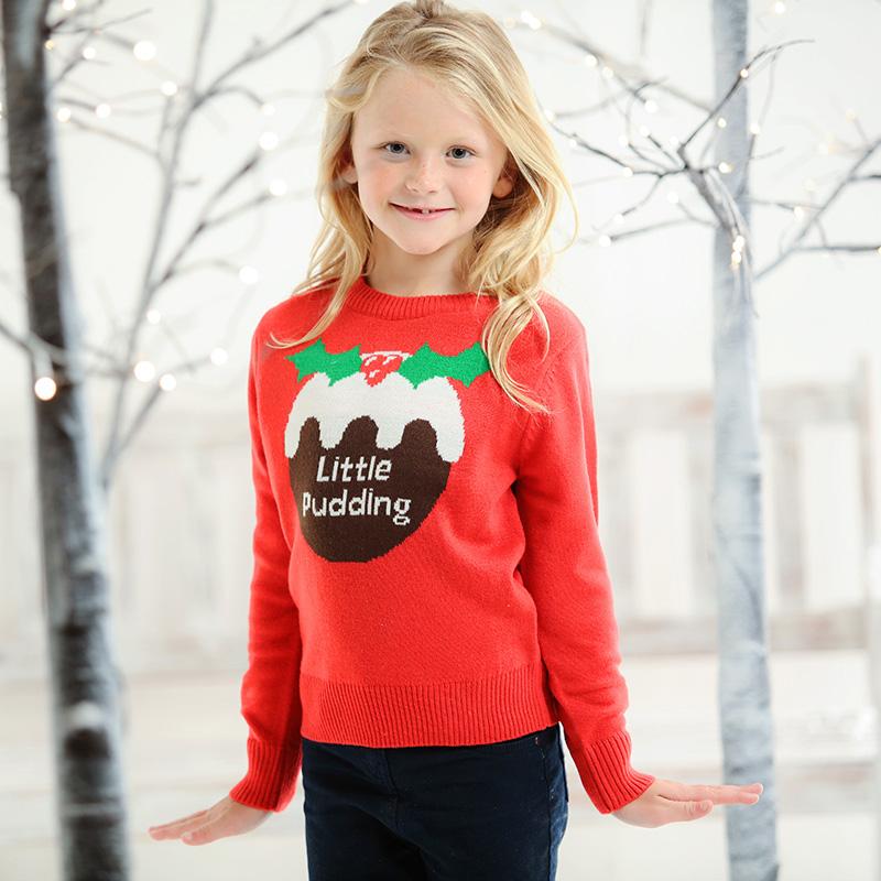 Kersttrui Maat 116.Foute Kersttrui Kinderen Little Pudding Rood Kersttruiwinkel Nl