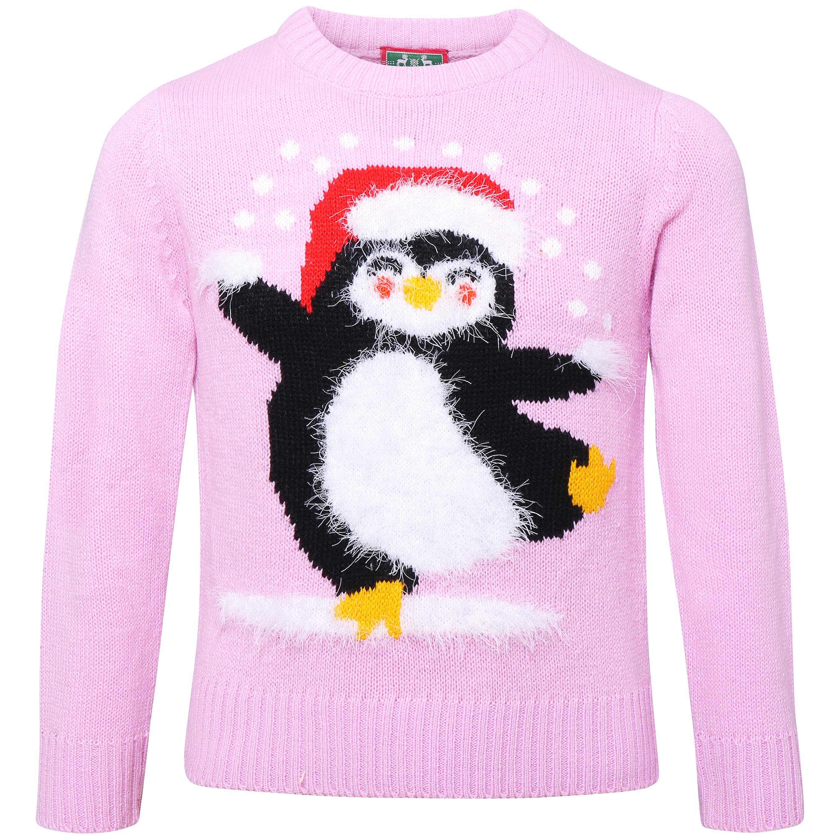 Foute Kersttrui Pinguin.Foute Kersttrui Kinderen Pinguin Super Soft Roze