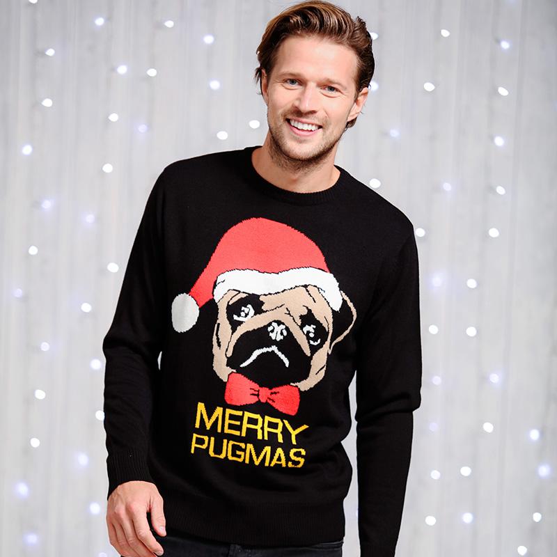 Heren Foute Kersttrui.Foute Kersttrui Merry Pugmas Heren Kersttruiwinkel Nl