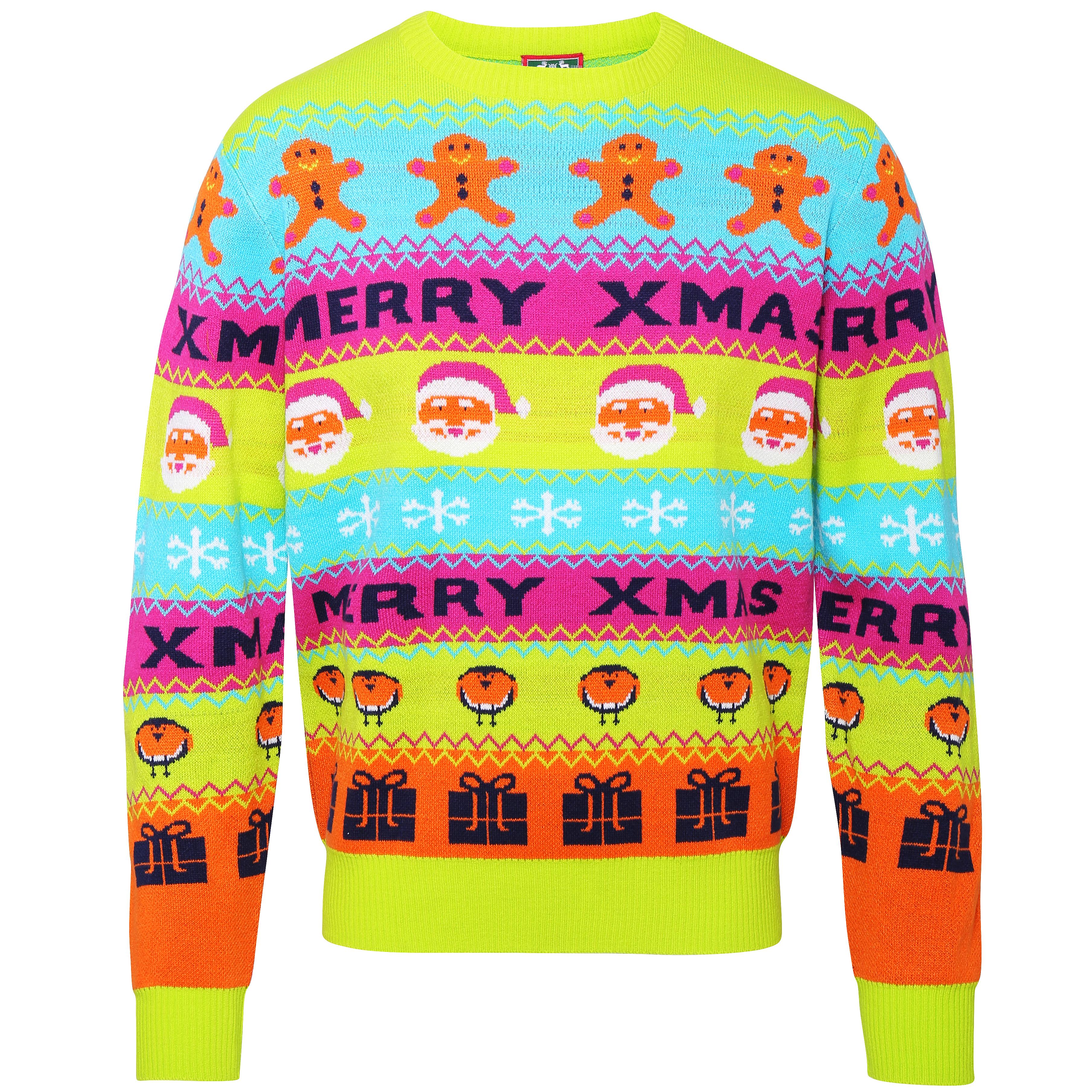 Foute Kersttrui C En A.Foute Kersttrui Met Neon Kerstprint Kersttruiwinkel Nl