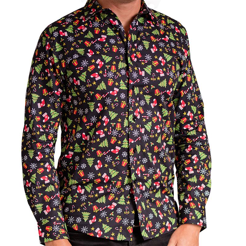 Kerst Overhemd.Kerst Overhemd Zwart Met Kerstprint Kersttruiwinkel Nl