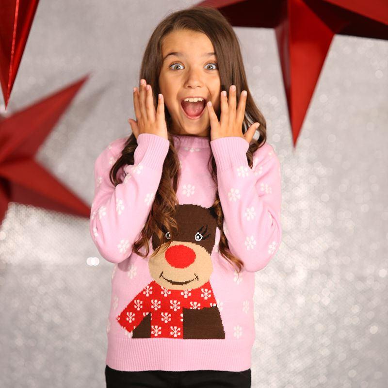 Foute Kinder Kersttrui Rendier Roze | KersttruiWinkel.nl