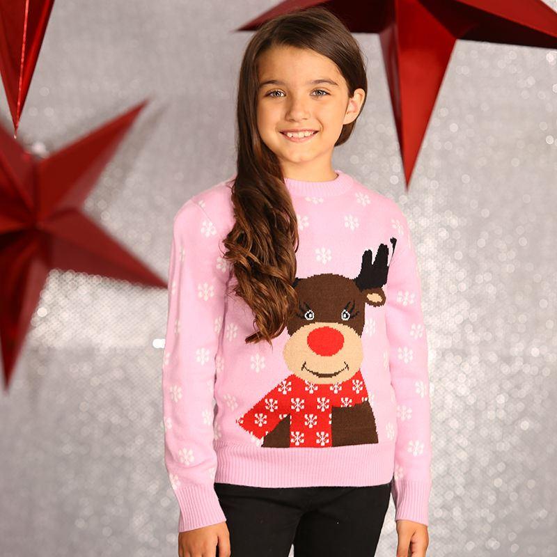 Kersttrui Kind.Foute Kinder Kersttrui Rendier Roze Kersttruiwinkel Nl