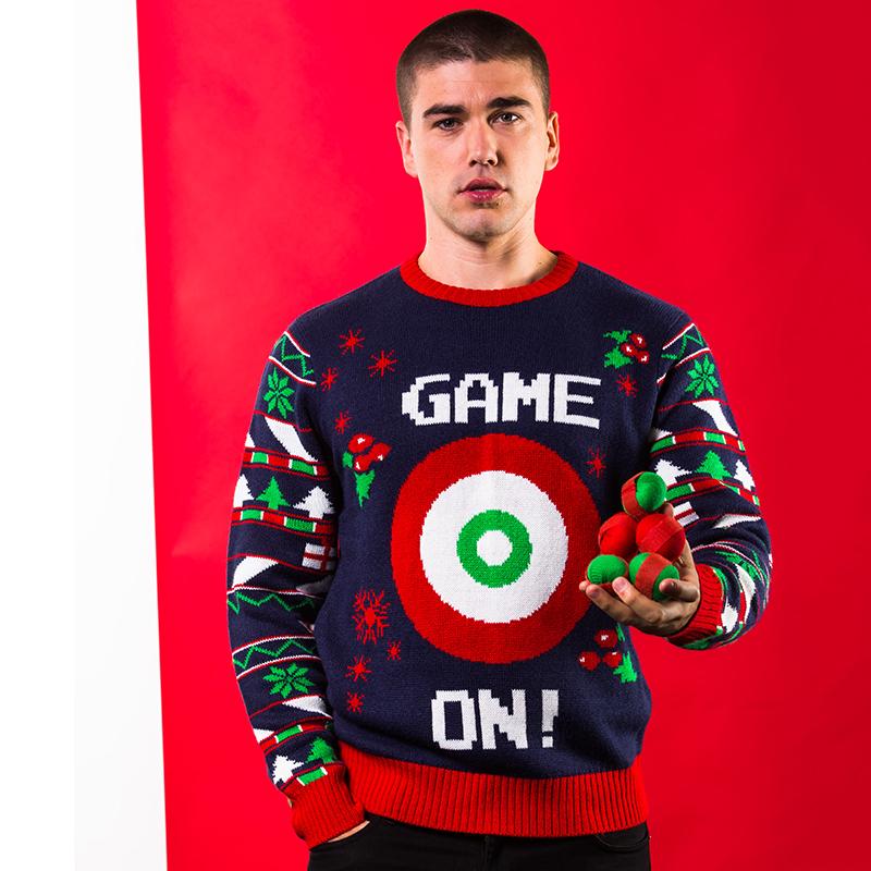 Grote Maten Foute Kersttrui.Foute Kersttrui Heren Met Spel Game On Inclusief 6 Ballen