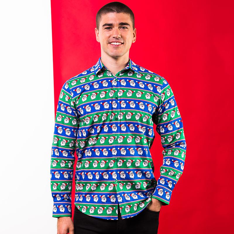 Kerst Overhemd.Kerst Overhemd Kerstman Print Blauw Groen Kersttruiwinkel Nl
