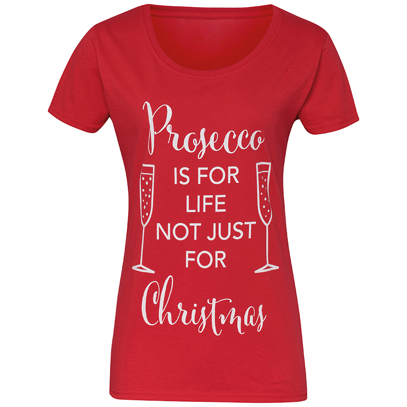 Kersttrui Dames Rood.Kersttrui T Shirt Rood Prosecco For Christmas Dames