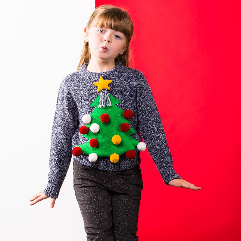 Kersttrui Kind.Foute Kinder Kersttrui 3d Kerstboom Met Ballen Grijs