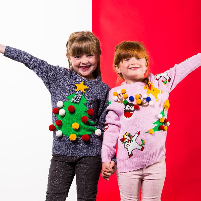 Kersttrui Hert.Super Foute Kinder Kersttrui Mix Match Kerstmis Roze