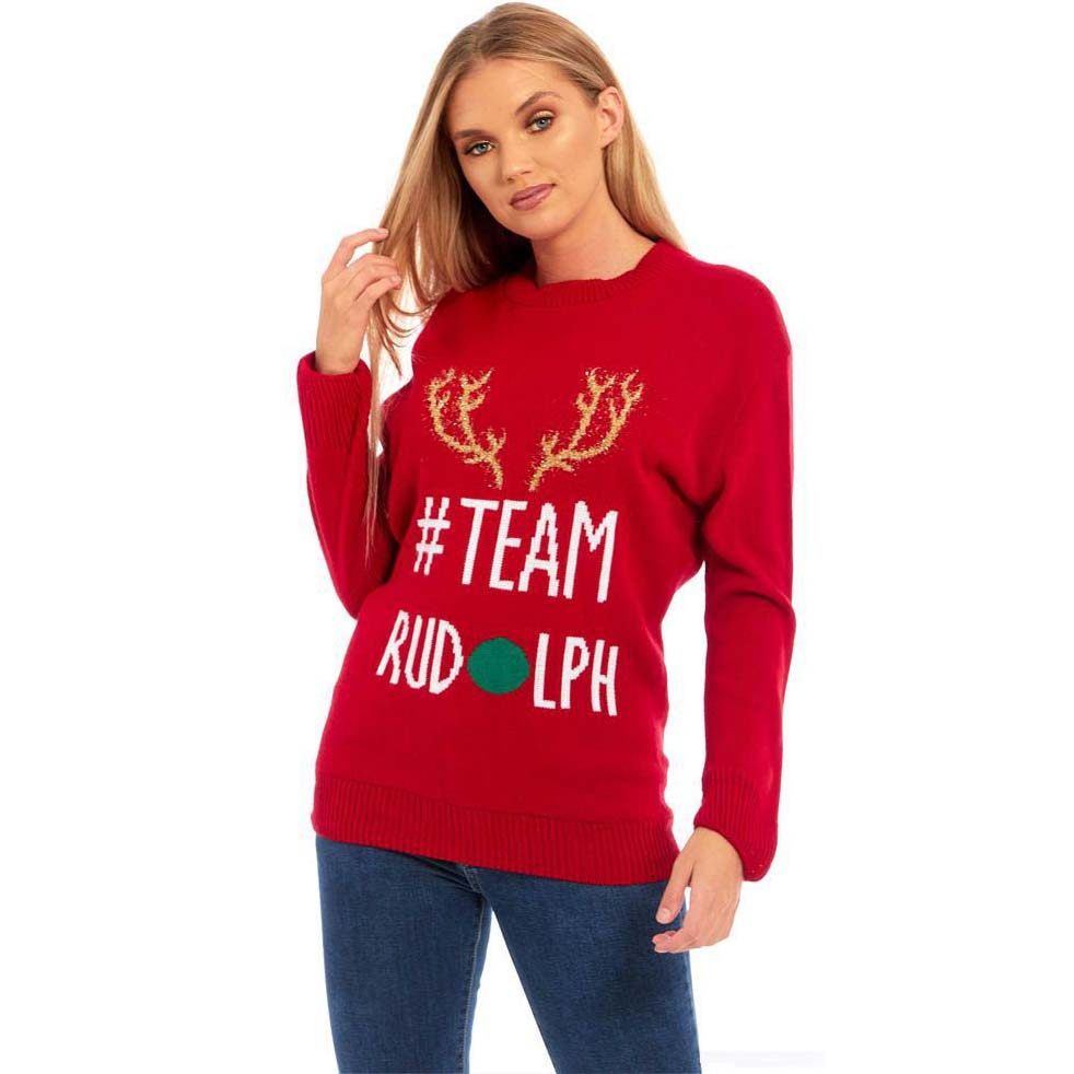 Foute Kersttrui Dames.Foute Kersttrui Team Rudolph Teamrudolph Rood Dames